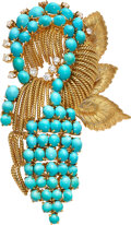 Estate Jewelry:Brooches - Pins, Turquoise, Diamond, Gold Brooch Stones: Turquo...