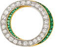 Estate Jewelry:Brooches - Pins, Edwardian, Diamond, Emerald, Platinum-Topped Gold Brooch