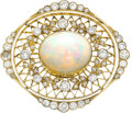 Estate Jewelry:Brooches - Pins, Opal, Diamond, Gold Brooch Stones: Opal caboch...