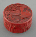 Carvings, A Chinese Carved Cinnabar Lacquer Box. 2-1/2 x 5 x 5 inches (6.4 x 12.7 x 12.7 cm). ...