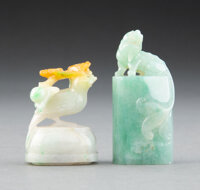Two Chinese Carved Jadeite Seals, Qing Dynasty 2-5/8 x 1 x 3/4 inches (6.7 x 2.5 x 1.9 cm) (tallest)  ... (Total: 2 Item...