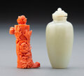 Carvings, A Chinese Carved Coral Snuff Bottle and a Pale Celadon Jade Snuff Bottle. 2-5/8 inches (6.7 cm) (tallest). ... (Total: 2 Items)