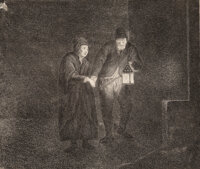 Martin Baes (Flemish, 1604-1637) The night watchman conducting a woman Etching on laid paper, with small margins 5 x