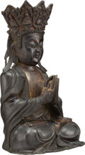 Metalwork, A Chinese Bronze Seated Buddha, Ming Dynasty . 22 x 13-1/2 x 12 inches (55.9 x 34.3 x 30.5 cm). ...