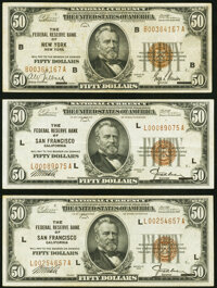 Fr. 1880-B $50 1929 Federal Reserve Bank Note VF; Fr. 1880-L $50 1929 Federal Reserve Bank Notes VF (2)