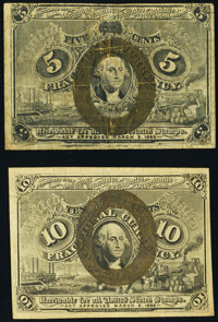 Fr. 1233 5¢ Second Issue Fine-Very Fine; Fr. 1246 10¢ Second Issue Very Fine