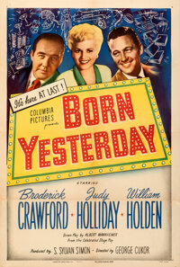 """Born Yesterday (Columbia, 1950). Fine/Very Fine on Linen. One Sheet (27"""" X 41""""). Comedy"""