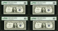 Small Size:Silver Certificates, Fr. 1620* $1 1957A Silver Certificate Stars PMG Gem Uncirculated 66 EPQ (2); Gem Uncirculated 65 EPQ (2).. ... (Total: 4 notes)