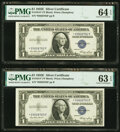 Small Size:Silver Certificates, Fr. 1614* $1 1935E Silver Certificate Stars PMG Choice Uncirculated 64 EPQ (2); Choice Uncirculated 63 EPQ (3).. .....