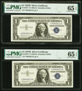 Small Size:Silver Certificates, Fr. 1621* $1 1957B Silver Certificate Stars. Five Consecutive Examples. PMG Gem Uncirculated 65 EPQ.. ... (Total: 5...