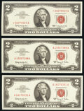Small Size:Legal Tender Notes, Fr. 1513* $2 1963 Legal Tender Star Note. Choice Crisp Uncirculated;. Fr. 1514 $2 1963A Legal Tender Notes. Two ...