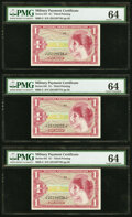 Military Payment Certificates:Series 641, Series 641 $1 Third Printing Three Consecutive Examples PMG Choice Uncirculated 64.. ... (Total: 3 notes)