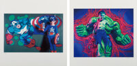 Ron English (b. 1959) Hulk Boy and Captain Kid (two works), 2007 Digital prints in colors on wove paper 20 x 20 i... (To...
