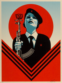 Shepard Fairey (b. 1970) Peace Guard 2, 2016 Screenprint in colors on speckled cream paper 24 x 18 inches (61 x 45.7