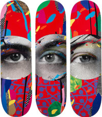 Paul Insect (b. 1971) I See 1, 2, & 3 (set of 3), 2020 Screenprints in colors on skate decks 32 x