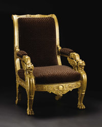 An Italian Neoclassical Giltwood Armchair  Unknown maker, Italian Circa 1800-1830 Carved and gilded wood, upholstery Un...