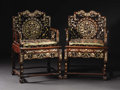 Furniture , A Pair of Chinese Armchairs Finely Inlaid with Mother of Pearl. Unknown maker, Chinese. Mid Nineteenth Century. Teakwood, ... (Total: 2 )