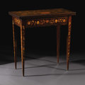 Furniture : Continental, A Dutch Marquetry Inlaid Flip Top Games Table. Unknown maker,Dutch. Early nineteenth century. Mahogany veneer on pine car...