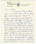 """Miscellaneous, DiMaggio Joseph. Autograph letter signed (""""Joe"""") on """"The Madison"""" hotel letterhead stationery, 3 pages (10 ? x 8 ½ in.; 276 x ..."""