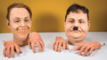 Movie/TV Memorabilia, Stan Laurel and Oliver Hardy (2) wax heads and hands....