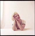 """Movie/TV Memorabilia, Color camera transparency of Marilyn Monroe from """"Tennis Sweater"""" sitting by Milton Greene. ..."""