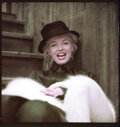 """Movie/TV Memorabilia, Collection of (4) color camera transparencies of Marilyn Monroe from """"Black Raincoat"""" sitting by Milton Greene. ..."""