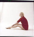 """Movie/TV Memorabilia, Color camera transparency of Marilyn Monroe from """"Red Sweater"""" sitting by Milton Greene. ..."""