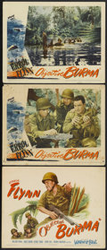 "Movie Posters:War, Objective Burma (Warner Brothers, 1945). Title Lobby Card and LobbyCards (2) (11"" X 14""). War.... (Total: 3 Items)"
