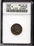 Patterns: , 1858 P1C Indian Cent, Judd-212, Pollock-263, R.4--Cleaned--...