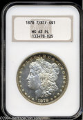 Morgan Dollars: , 1878 7/8TF $1 Strong MS63 Prooflike NGC. A flashy, well ...