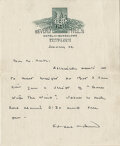 Movie/TV Memorabilia, Sidney Howard rare handwritten signed letter regarding Gone With the Wind related script revisions. ...