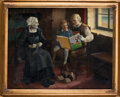 Movie/TV Memorabilia, Grandparents reading a Mickey Mouse book to grandchild oil painting by R. Houy....