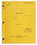 Movie/TV Memorabilia, ouch of Evil Orson Welles' personal revised final-draft screenplay with several hand notations and revisions. ...