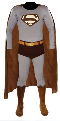 """George Reeves """"Superman"""" costume ensemble with fx """"flying pan"""""""
