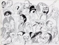 Movie/TV Memorabilia, Al Hirschfeld original pen & ink drawing of Jack Lemmon with stars of the arts and stage. ...