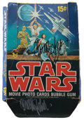 Movie/TV Memorabilia, Carrie Fisher signed box of (30) unopened wax packs of original 1st series Star Wars cards....