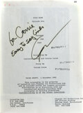 Movie/TV Memorabilia, Carrie Fisher personal bound presentation script for Star Wars: Return of the Jedi signed by George Lucas....