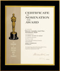 Movie/TV Memorabilia, Academy Award certificate of Nomination for Butch Cassidy and the Sundance Kid. ...