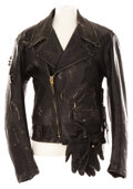Movie/TV Memorabilia, Arnold Schwarzenegger leather jacket and gloves from The Terminator. ...