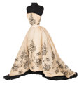 """Movie/TV Memorabilia, Audrey Hepburn """"Sabrina Fairchild"""" signature white organza gown with black floral embroidery for Sabrina from a design by Hube..."""