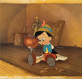Animation Art, Walt Disney signed original production cel and production background from Pinocchio. ...