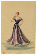 Movie/TV Memorabilia, Elois Jenssen black and pink gown costume sketch for Lucille Ball in I love Lucy. ...