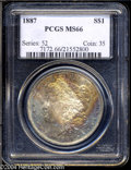 Morgan Dollars: , 1887 $1 MS66 PCGS. Vigorous orange-gold and forest-green ...