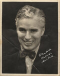 Movie/TV Memorabilia, Charlie Chaplin signed photograph inscribed to Orson Welles. ...