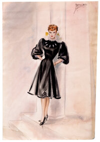 """First-ever costume sketch by Elois Jenssen for Lucille Ball as """"Sandra Carpenter"""" in Lured"""