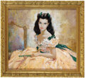 """Movie/TV Memorabilia, Vivien Leigh as """"Scarlett O'Hara"""" original painting by Howard Terpning for Gone With the Wind. ..."""