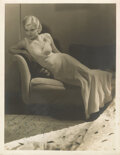 Movie/TV Memorabilia, Jean Harlow signed photographic portrait by Hurrell with a copy of The Hollywood Low-Down featuring Harlow on the cover. ...