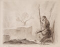 Movie/TV Memorabilia, Arnold Friberg drawing of Moses and the Burning Bush from The Ten Commandments. ...