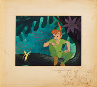 Walt Disney signed original production cel and production background from Peter Pan