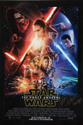 Movie/TV Memorabilia, Star Wars: Episode VII - The Force Awakens double-sided advance 1-sheet poster signed by Carrie Fisher....